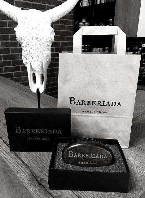 Kartacz z logo Barberiada Barber Shop